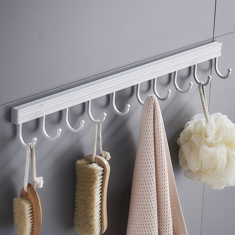 Multifunctional Punch-free Wall Hanging Row Hook Pot Brush Bath Ball Towel Sundries Storage Rack Hanger For Kitchen Bathroom