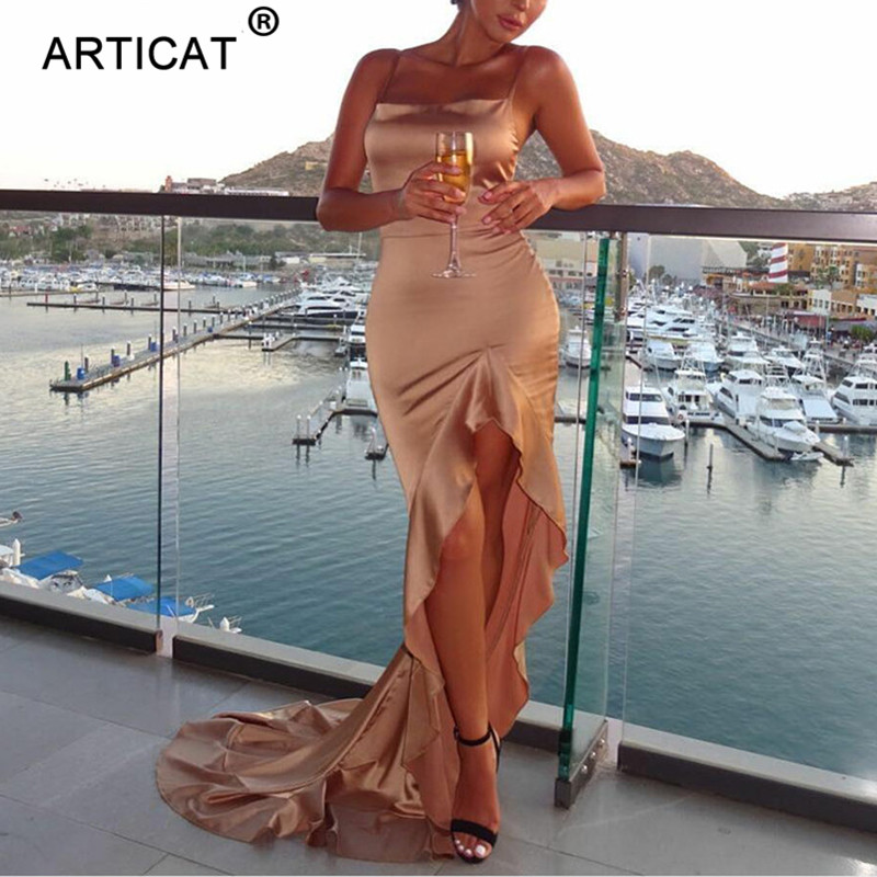 Articat Irregular Ruffles <font><b>Sexy</b></font> Long Maxi <font><b>Christmas</b></font> <font><b>Dress</b></font> Women <font><b>Red</b></font> Satin Backless Bodycon <font><b>Dress</b></font> Elegant Split Party <font><b>Dress</b></font> 2019 image