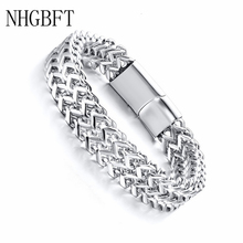 NHGBFT Vintage Cool Double layer Chain Bracelets for Mens Stainless Steel Punk Cubic Chain Male Jewelry nhgbft punk style tire spinner chain rings for mens stainless steel black color biker ring male jewelry