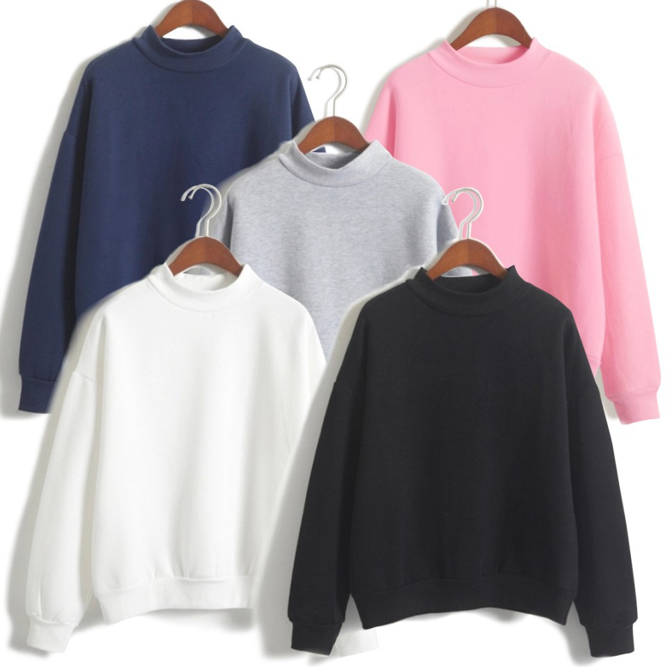 Solid Color High Collar Hoodie Men And Women Blank Hoodless Sweater Support Customization Logo Printed Hot Selling