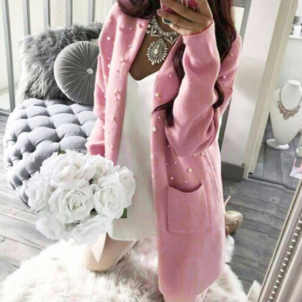 Slim Long Cardigans Women Open Stitch Knitted Sweaters Winter Sexy Pearl Coats Long Sleeve Thick Outerwear Fleece Tops Knits