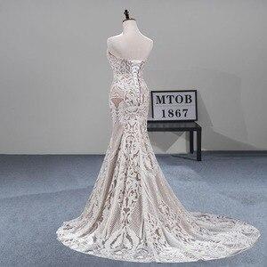 Image 3 - MTOB הכי חדש תחרת בת ים חתונת שמלת Applique עמוק מתוקה ללא משענת שמפניה כלה שמלות