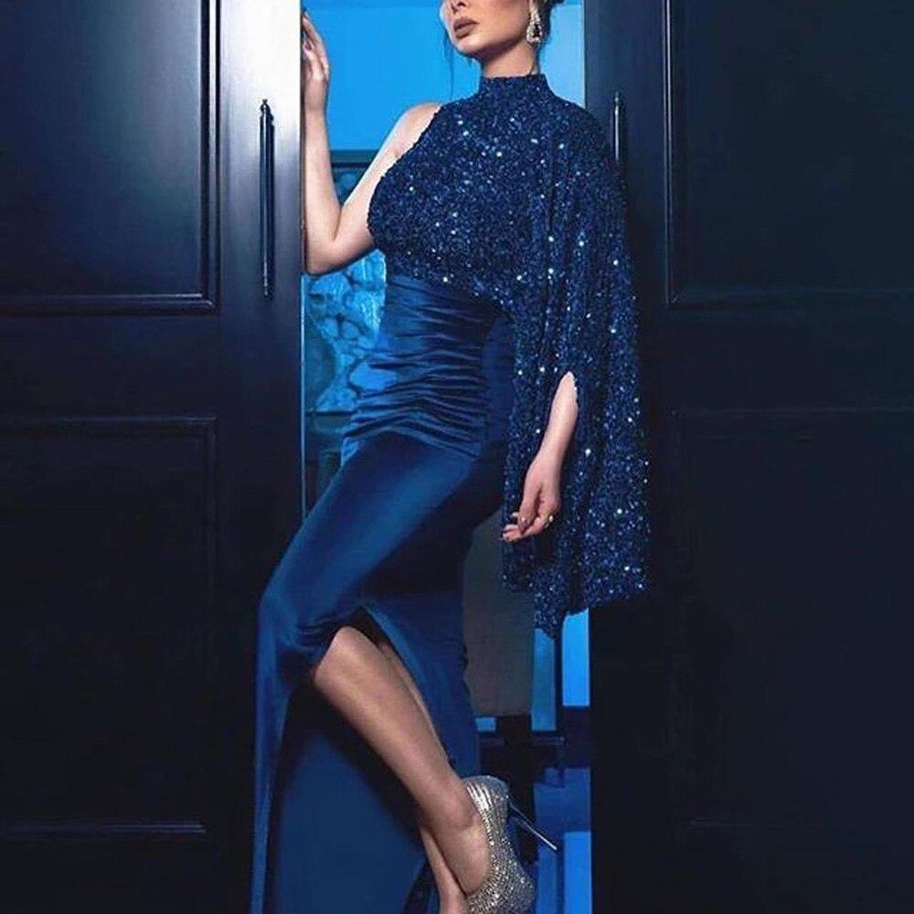 Glamour Dress Luxury Night Party Mermaid Cocktail Long Blue High Split Sheath One Shoulder Sequined Vestidos Mujer Dress Elegant