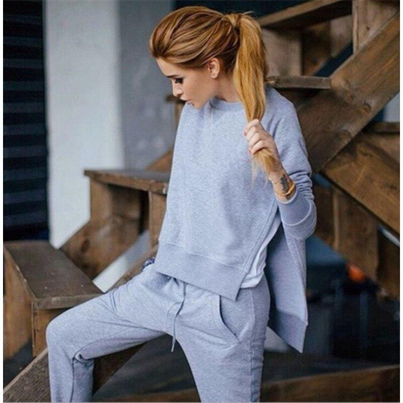 Survêtement chaud en coton pour Femme, ensemble 3 couleurs, sweat à capuche, pantalon Long, col rond, Vintage, Moleton, collection automne hiver 2020