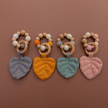 1PC Baby Wooden Teether Cotton Leaves Gym Play Beech Ring Teething Bracelet Pend