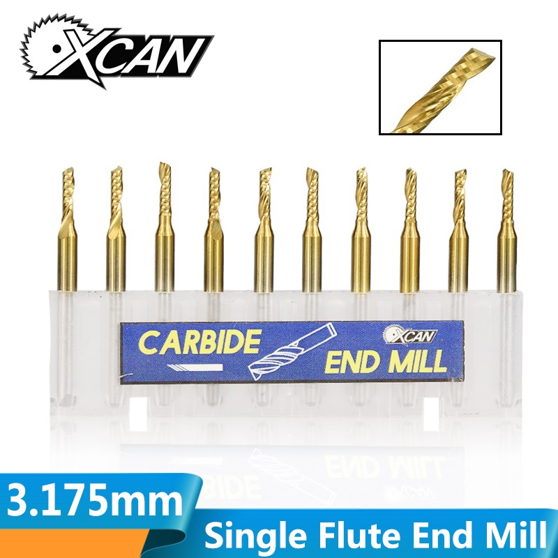XCAN 10pcs 3.175mm Shank 2/2.5/3.175mm Single Flute Spiral End Mill TiN Coated CNC Engraving Bit Carbide 1 Flute Milling Cutter