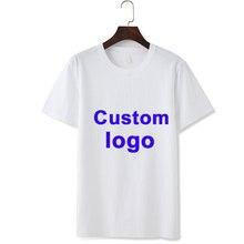Camiseta de algodón puro para hombre y mujer, camisetas con logo personalizable