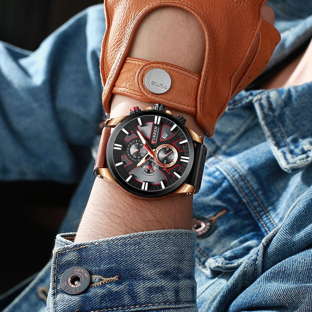 H4c0af64d5e604f36b22f0f02291c31dbY CURREN  Brand Luxury Men Watch Leather Quartz Clock Fashion Chronograph Wristwatch Male Sport Military 8346 Relogio Masculino