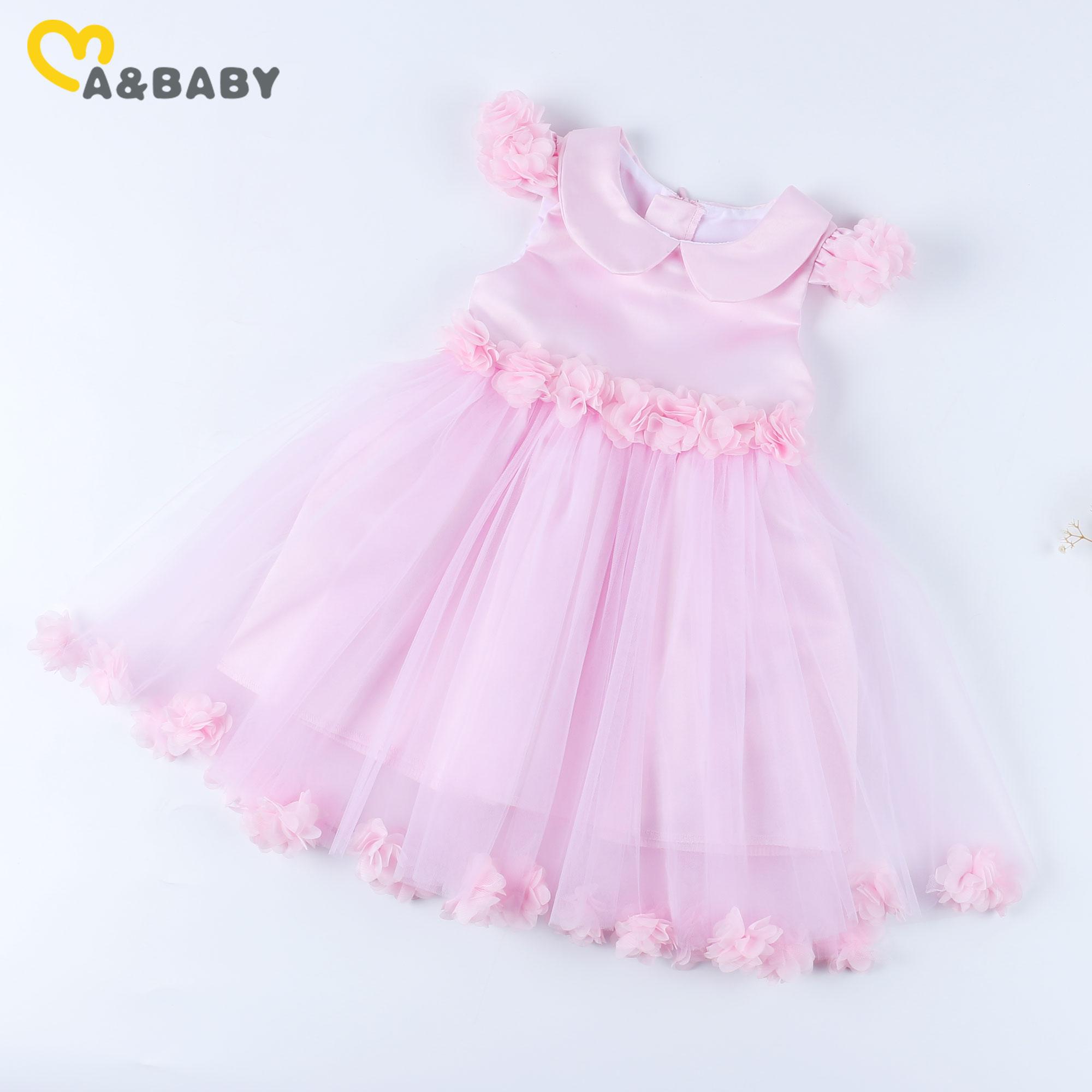 Ma&Baby 6M-6Y Summer Flower Toddler Baby Kid Girls Dress Peter Pan Collar Tutu Dresses For Girls Birthday Children's day Gift