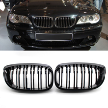1 Pair Gloss Black Dual Line Kidney Grille Grill for BMW 3 Series E46 2003 2005 Double Slat Sport Style Gloss Black