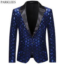 Блестящий блестящий мужской s Королевский синий блейзер с зазубренными отворотами клетчатый мужской смокинг блейзеры Свадебная сцена для ночного клуба мужской пиджак