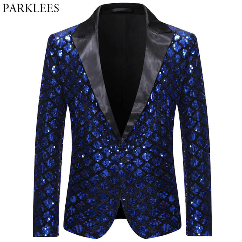 Shiny Sequin Glitter Mens Royal Blue Blazer Notched Lapel Plaid Men Tuxedo Blazers Wedding Nightclub Party Stage Men Suit Jacket
