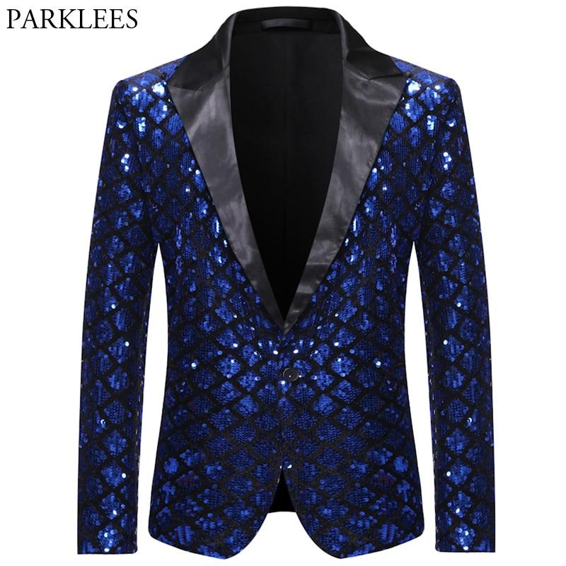 Shiny Sequin Glitter Mens Royal Blue Blazer Notched Lapel Plaid Men Tuxedo Blazers Wedding Nightclub Party Stage Men Suit Jacket