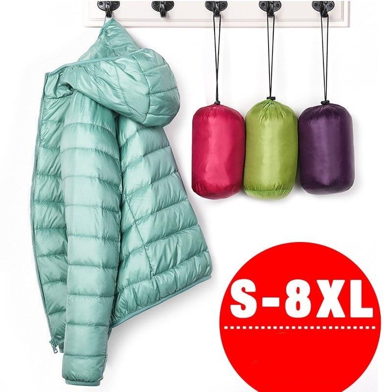 7XL Cheap Ultra Light Down Winter Warm Hooded Feather Puffer Jacket For Girl Short Spring Autumn Coat Female Women Big Size Duck
