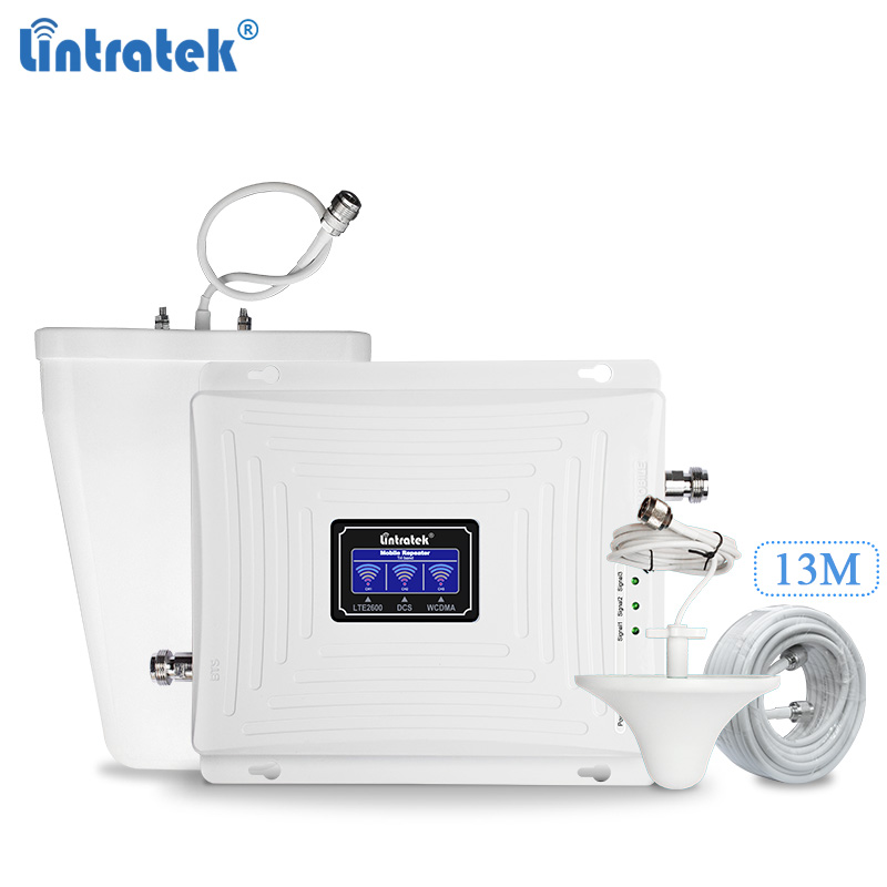 Lintratek 3G 4G Signal Booster 2100 1800 2600 Repeater 65dB 4G 1800 2600 LTE Mobile Phone Signal Amplifier 3G 2100MHz UMTS LTE