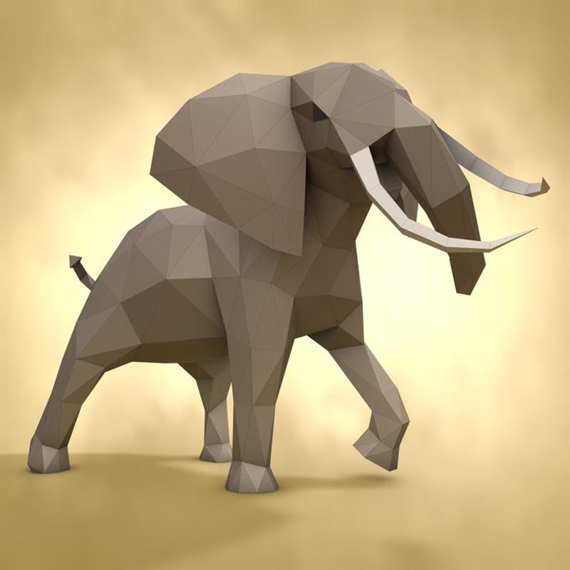 [해외] 아프리카 코끼리 종이 공예 PEPAKURA LOWPOLY 낮은 다각형 3D 종이 모델 수제 종이 조각 DIY - 아프리카 코끼리 종이 공예