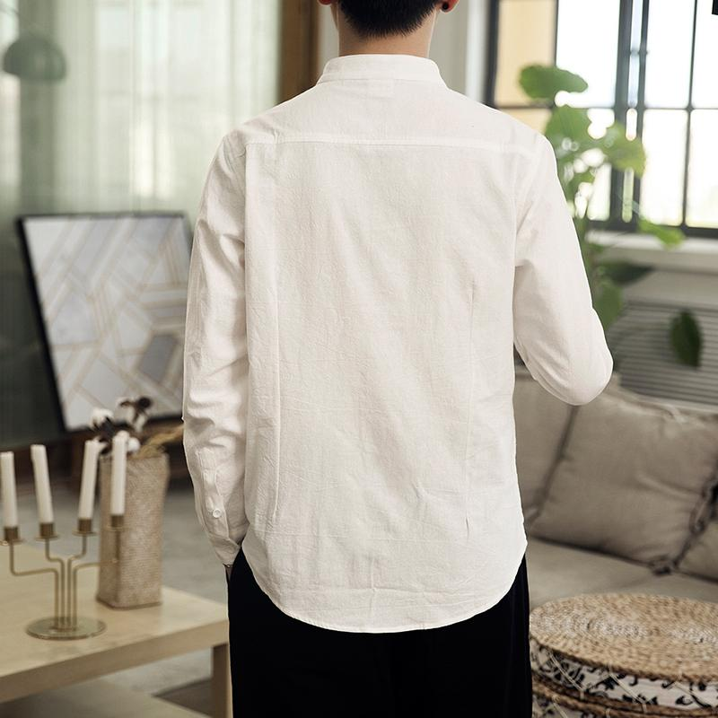 Image 5 - Button Collar Long sleeved Blouse Mens Shirt Chinese style Slim Linen Shirt for Mens clothing AutumnCasual Shirts   -
