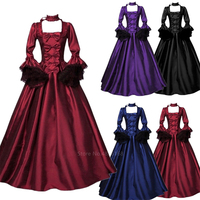 Medieval Renaissance Halloween Costumes for Women Adult Victoria Vintage Lace Elegant Court Middle Ages Carnival Cosplay Dress
