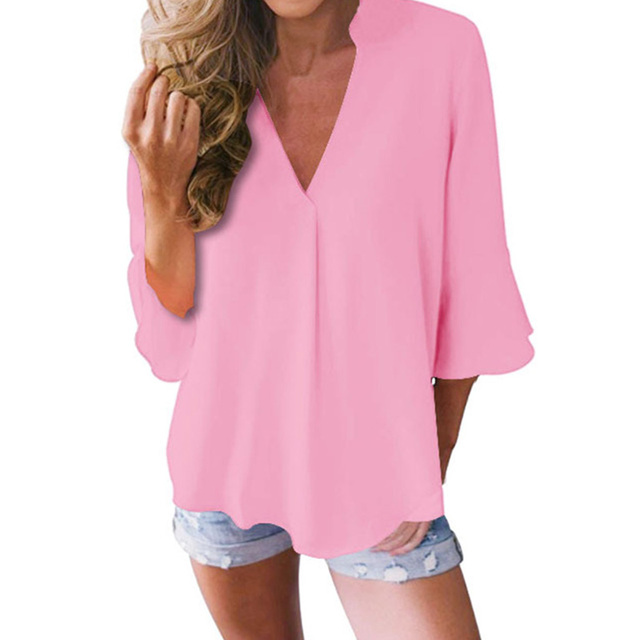 Large Size Casual Loose Chiffon Shirt Women Lotus Leaf Seven Sleeves Blouse Spring Summer Trendy Pure Color V-Neck Tops S-5XL 1