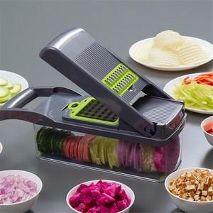 Image 1 - Vegetable Chopper Mandoline Slicer With Big Container Spiralizer Vegetable Slicer Dicer Potato Carrot Grater Kitchen Accessories