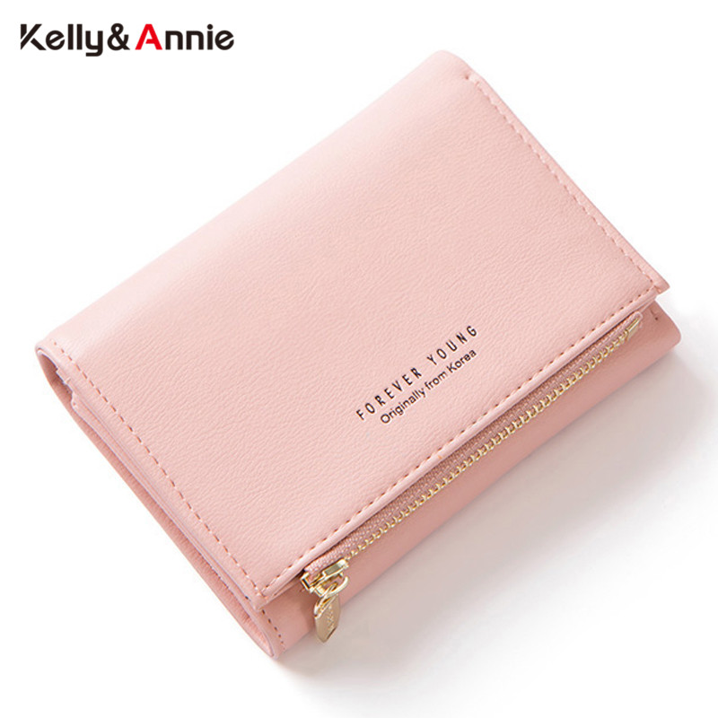 Forever Young Trifold Wallet Zipper Coin Pocket Card Holder Soft Leather Women Wallets Female Short Carteira Ladies Small Purse