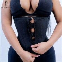 النساء اللاتكس مدرب خصر محدد شكل الجسم الكورسيهات مع سستة Cincher مشد أعلى حزام تخسيس أسود للتنحيف ملابس داخلية حجم كبير