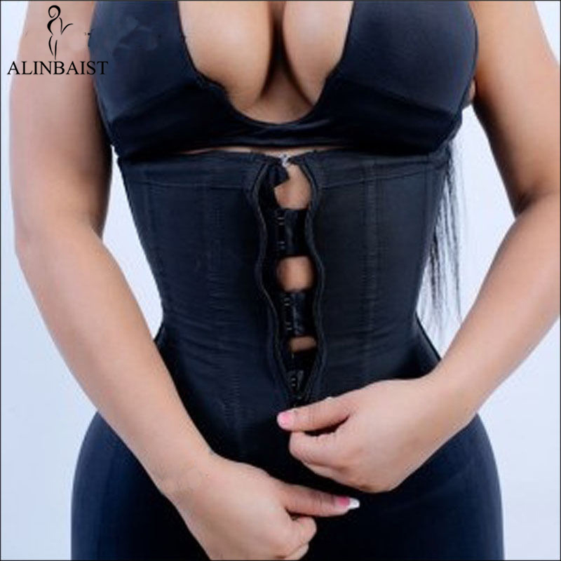 Shapewear preto da correia do emagrecimento dos shapers do corpo do instrutor da cintura do látex das mulheres com zíper cincher corset