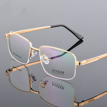 Titanium Alloy Eyeglasses Men Ultra Thick Gold Plated Optical Myopia Glasses Frames For Male Eyewear Spectacles