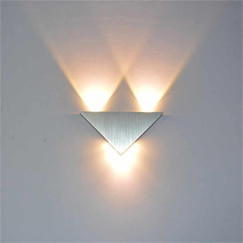 현대 Led 벽 램프 3W 알루미늄 바디 삼각형 벽 조명 침실 홈 조명 Luminaire 욕실 전등 벽 Sconce