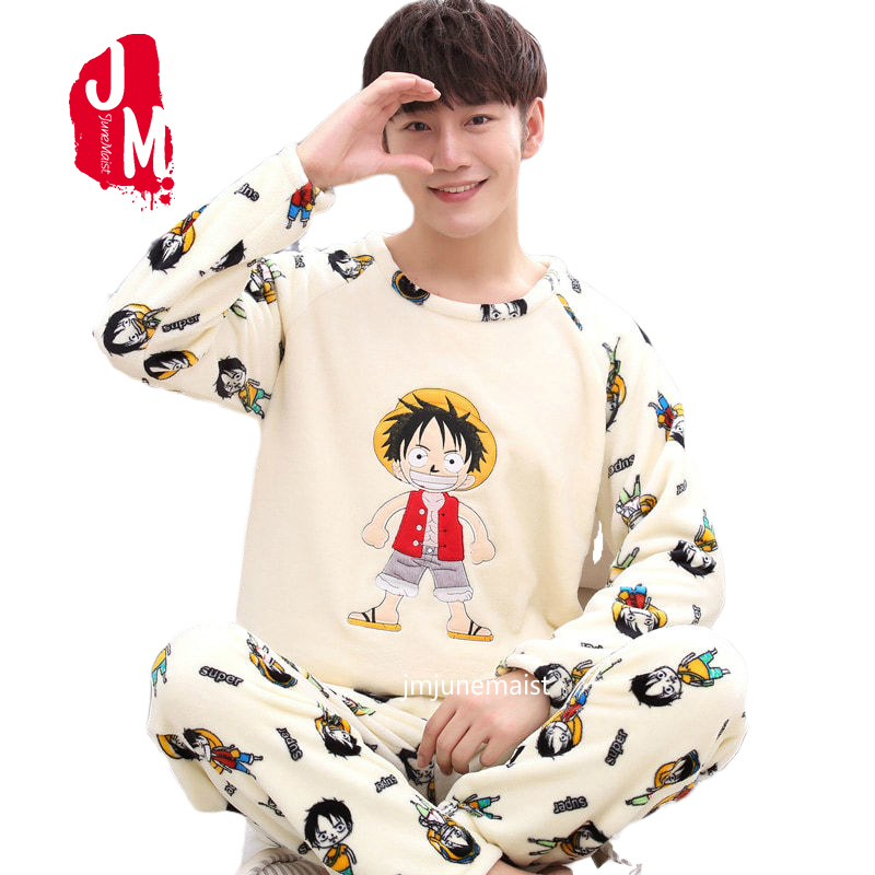 Winter Men's Pajama Sets Thick Flannel Cartoon Long Sleeve Warm Sleepwear Suit Coral Fleece Sleep &Lounge Pyjama Home Clothing