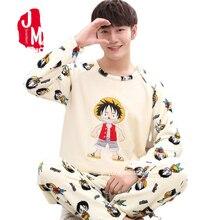 Winter Men's Pajama Sets Thick Flannel Cartoon Long Sleeve Warm Sleepwear Suit C