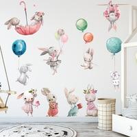 Aquarell Cartoon Bunny Wand Aufkleber Baby Kindergarten Wand Abziehbilder für Kinder Zimmer Wohnzimmer Schlafzimmer Wohnkultur Kaninchen Aufkleber PVC