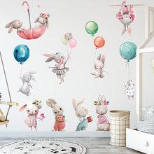 Autocollants muraux lapin dessin animé aquarelle, Stickers muraux en PVC pour chambre d'enfants, salon chambre à coucher, décoration de maison