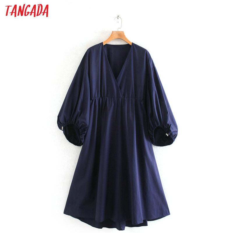 Tangada Fashion Women Retro Navy A-line Dress Puff Three Quarter Sleeve V Neck Loose Ladies Casual Midi Dress Vestidos 2W131