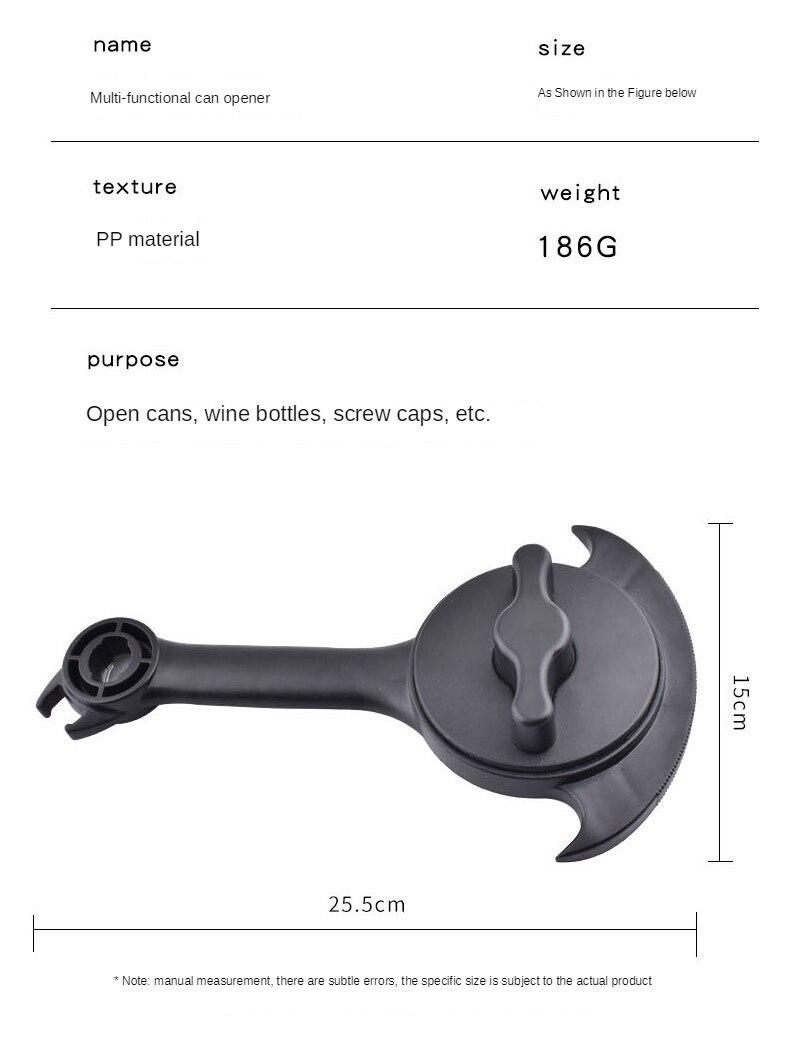 plástico preto 15*25cm abridor de garrafa multifuncional