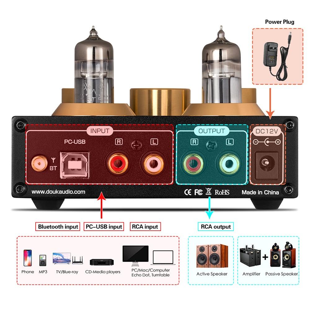Nobsound HiFi Bluetooth 5.0 6J5 Valve Tube Preamp Bass Preamplifier Stereo Audio Headphone Amplifier USB DAC APTX - 3