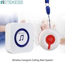 Retekess TD009 Беспроводная система оповещения о вызове медсестры кнопка вызова + приемник TH002 для пациента пожилого ухода дома