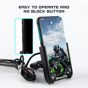 Image 4 - Aluminiowy uchwyt na telefon do motocykla USB uchwyt z ładowarką 360 stopni motocykl motor kierownica rearview telefon wsparcie góra