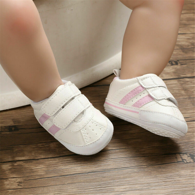 Fashion 2019 Hot New Newborn Baby Boy Girl Walking Soft Sole White Pram Shoes Trainer First Walkers Baby Shoes Infant Crib Shoes