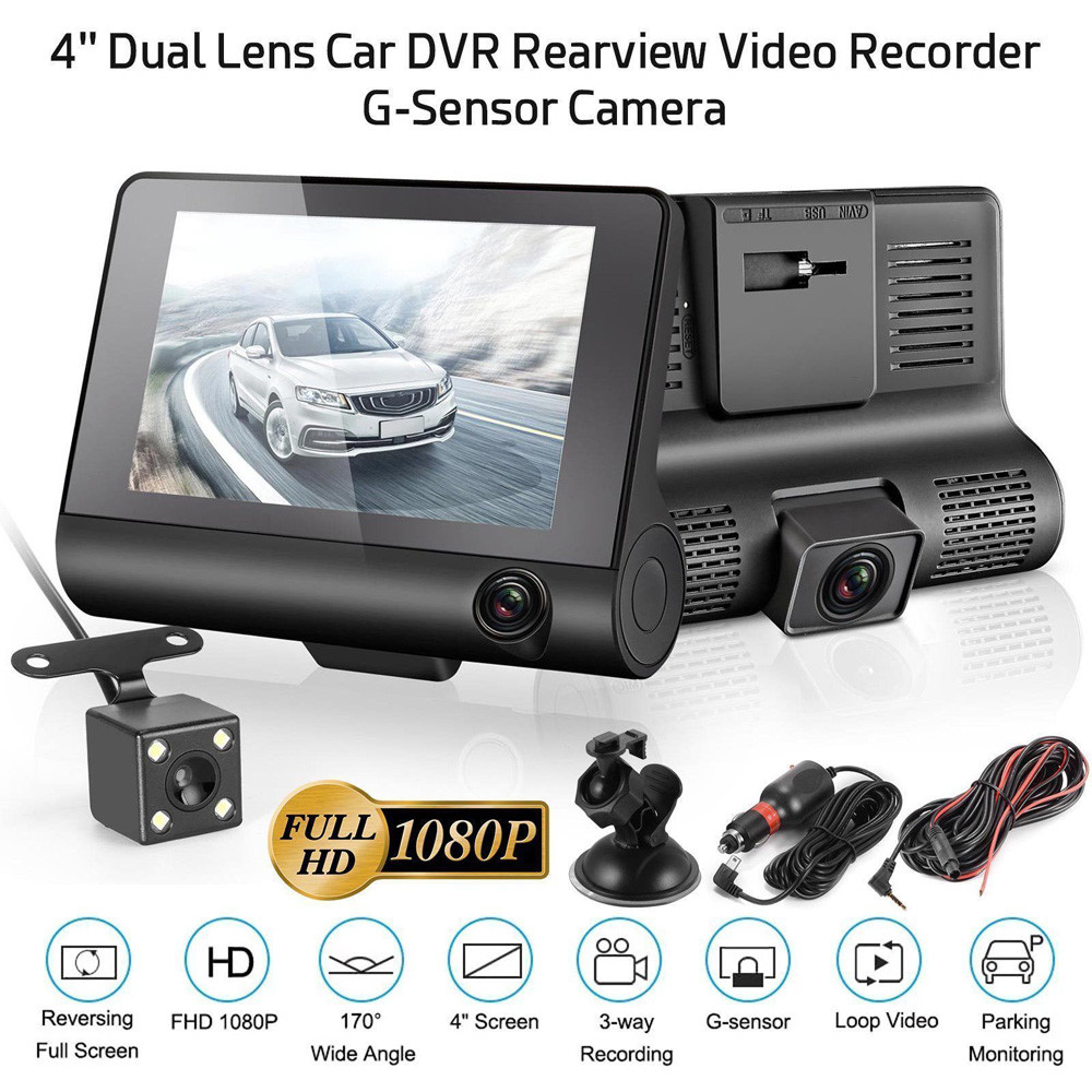 HD 1080P 4/'/' Car 3 Lens DVR Video Dash Cam Night Vision Rearview Camera G-sensor