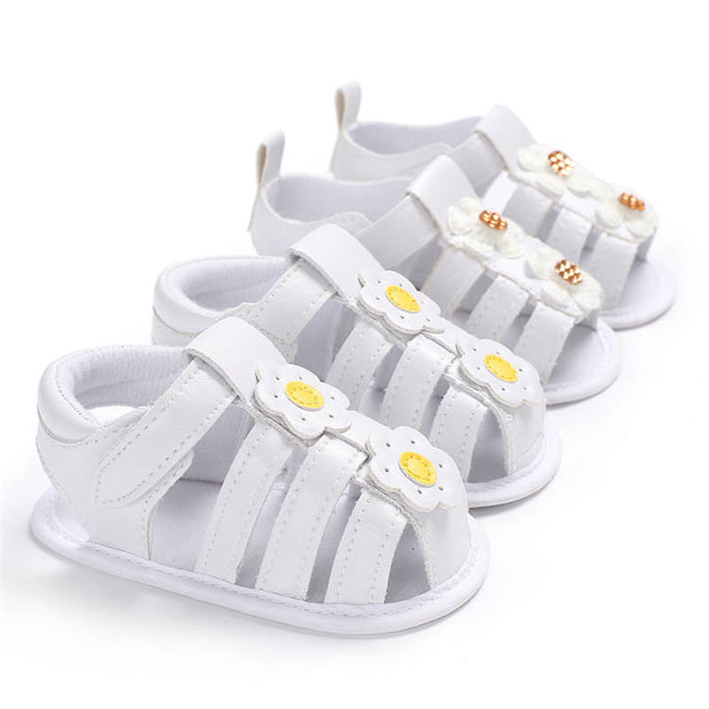 Newborn Infant  Sandals White Flower  Anti-Slip Cotton Sole 0-2 Years Toddler Baby First Walkers Summer Party Shoes