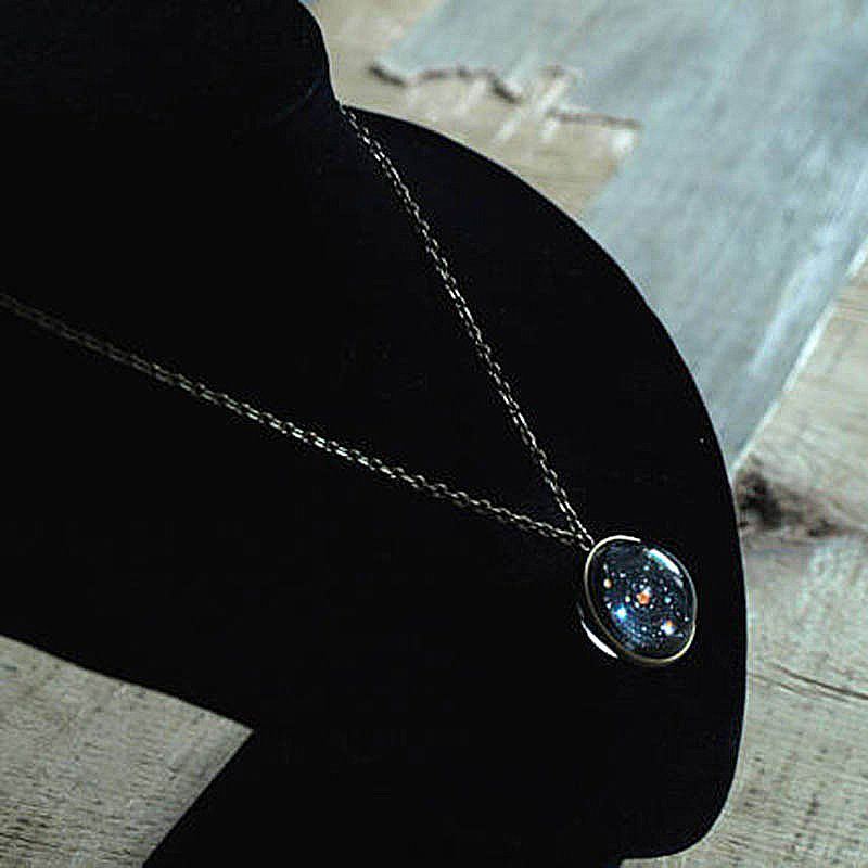 2019 New Glass Gem Galaxy Solar System Eight Planet Necklace For Women Universe of Stars Jewelry Femme Bijoux Factory Price