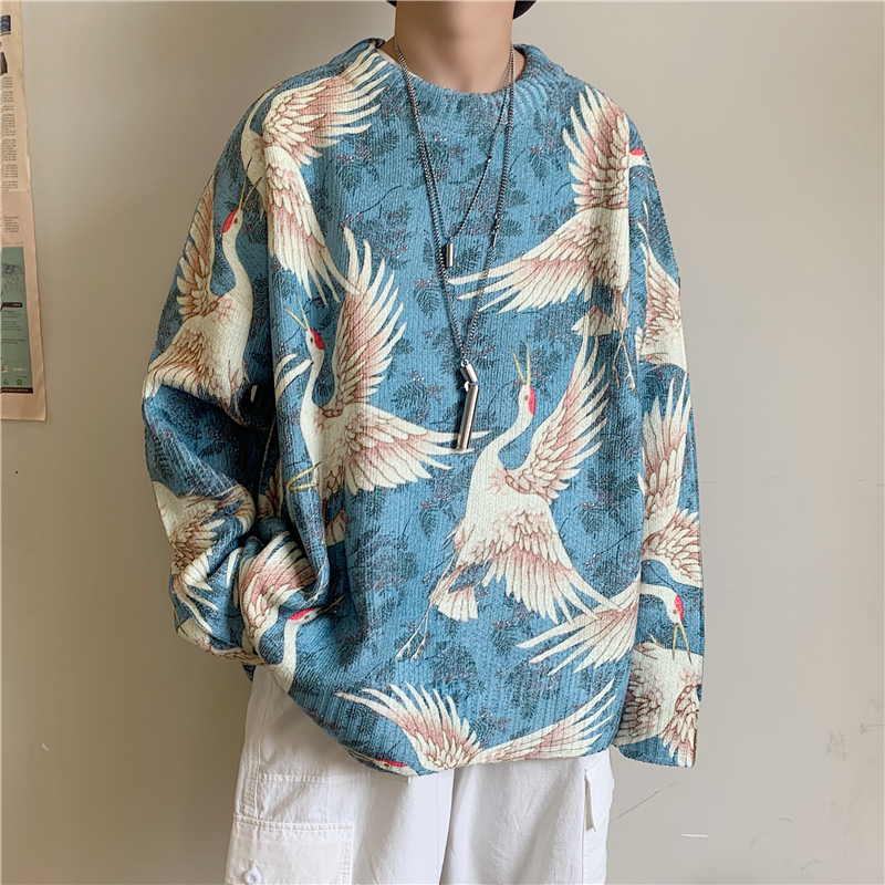 Winter Men's In Warm Blue/black/white Coats Cashmere Printing Knitting Woolen Sweaters High-quality Loose Casual Pullover M-XL