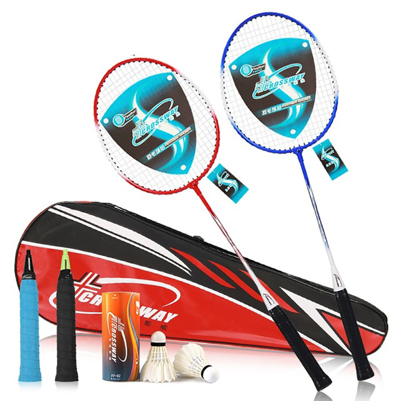 2pcs/lot Couple Set Family Double Iron Alloy Training Badminton Rackets Light Weight Sports With Bag Badminton Set For Adult
