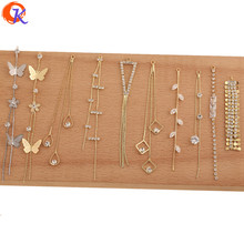 Cordial Design 50Pcs Jewelry Accessories/Rhinestone Claw Chain/CZ Earrings Connectors/DIY/Hand Made/Jewelry Findings Component