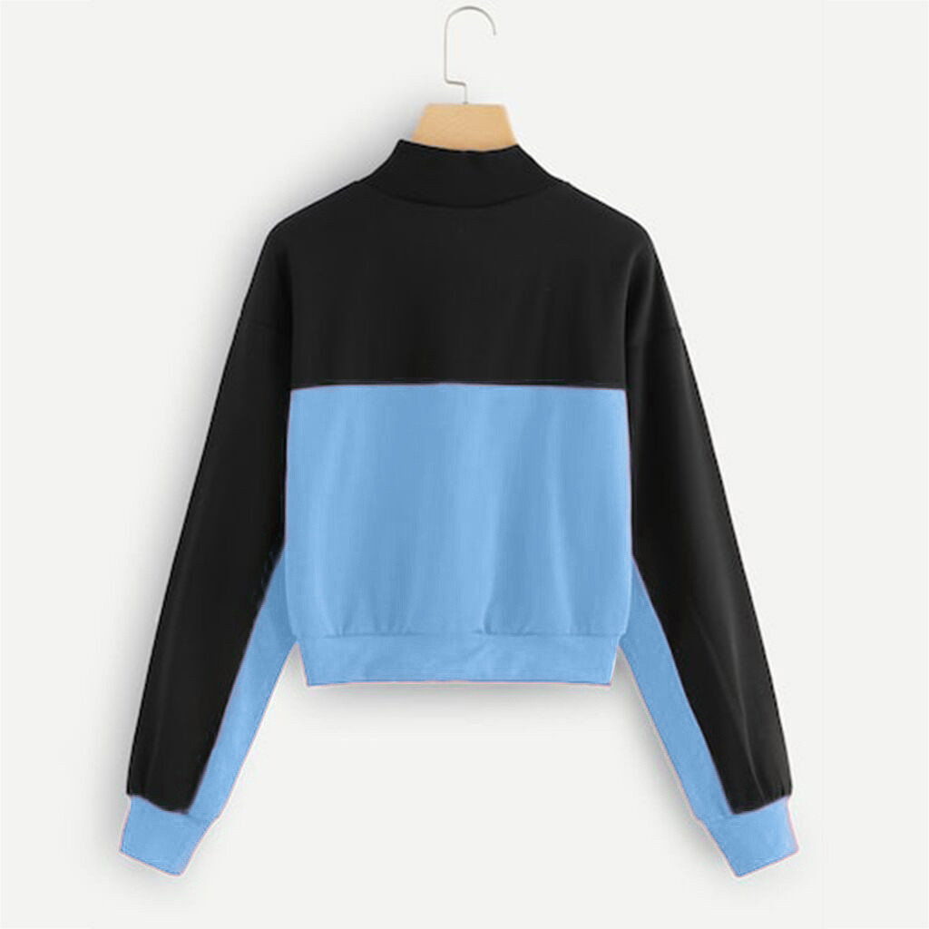 Jaycosin 2019 Fashion Autumn Women Simple Loose Colorblock Zipper Sweatshirt Stylish Long Sleeve Comfortable Casual Blouse 108#4