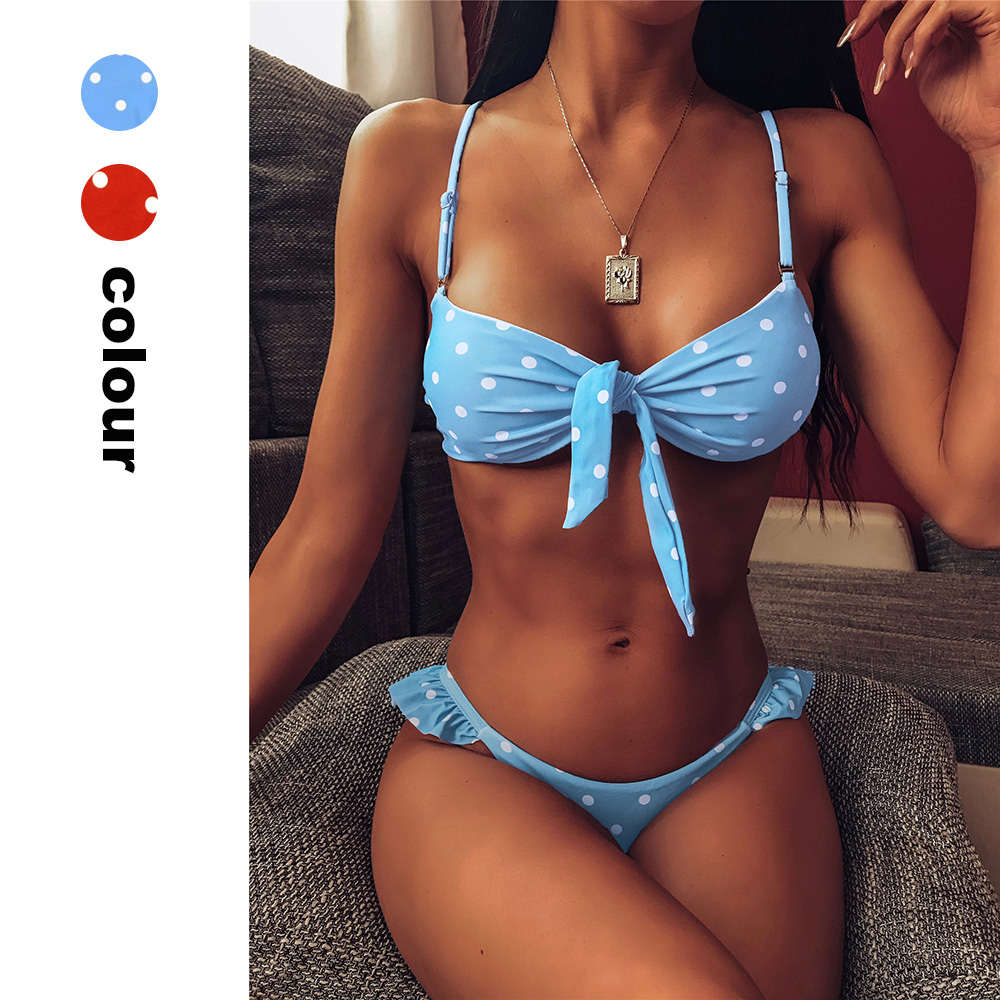 Polka Dot Swimwear High Cut Women Tie Knot Tube Top Bikini Set Bathing Suit Cute Summer Bathers Swimsuit Ruffled Bodysuits