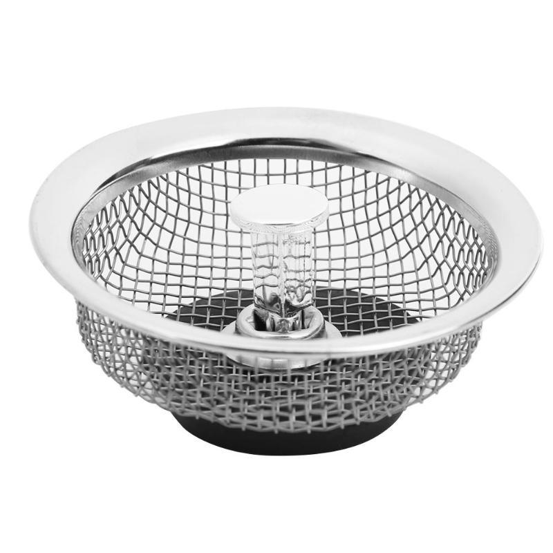 Stainless Steel Mesh Kitchen Sink Plug Bathroom Basin Drainer Filter Cover