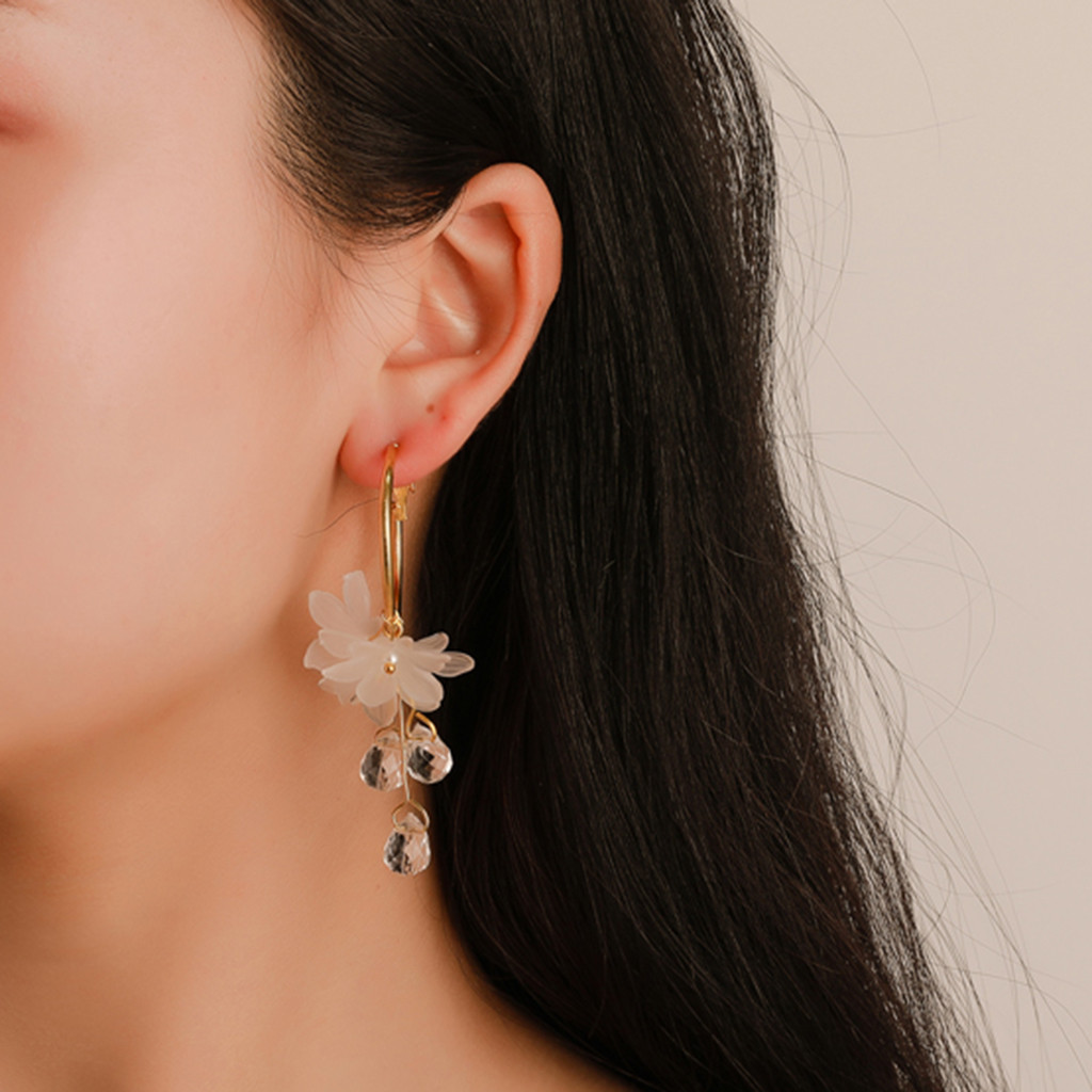 Mujeres Dama Moda Cristal Estrás Pendientes de Flor Joyería