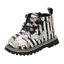 Einhorn Pferd Regenbogen Mikrofaser Leder Infant Stiefel Harte Sohle Baby Schuhe Mädchen Kinder Winter Erste Wanderer Prewalker 0 24month